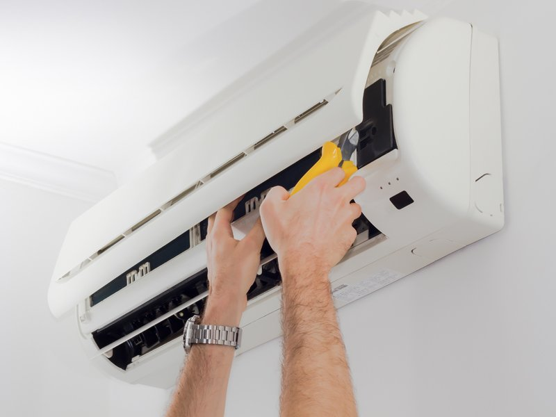 Air conditioning system being installed