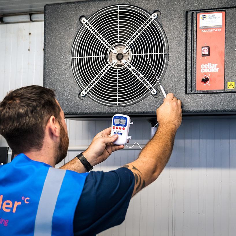 Pinder Cooling engineer maintaining Marstair Cellar Cooling equipment